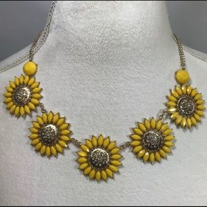 Sunflower Statement Necklace with Stud Earrings